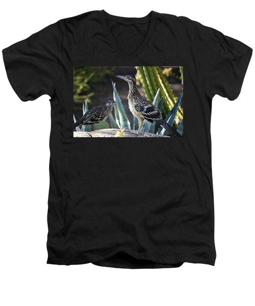 Roadrunners At Play  Men's V-Neck T-Shirt by Saija  Lehtonen