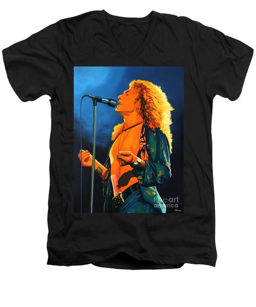 Robert Plant Men's V-Neck T-Shirt by Paul Meijering