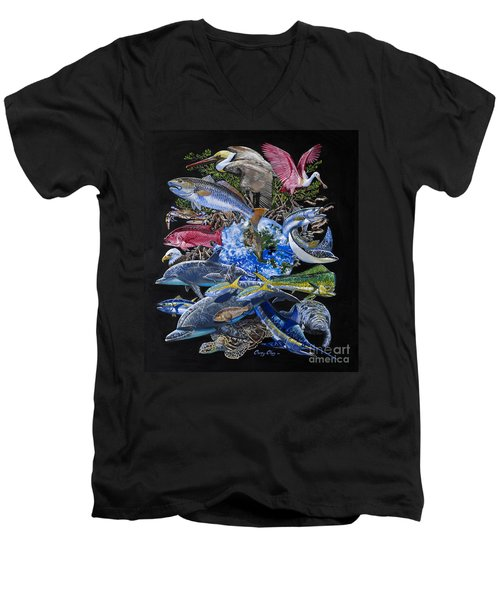 Save Our Seas In008 Men's V-Neck T-Shirt by Carey Chen