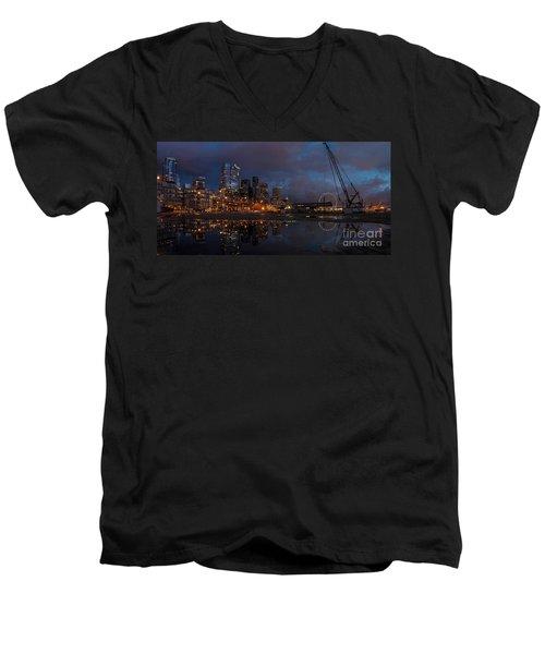 Seattle Night Skyline Men's V-Neck T-Shirt by Mike Reid
