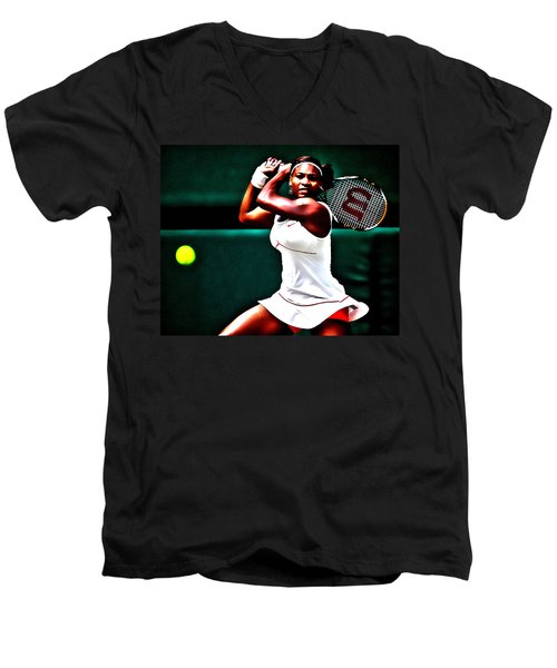 Serena Williams 3a Men's V-Neck T-Shirt by Brian Reaves
