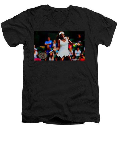 Serena Williams Making It Look Easy Men's V-Neck T-Shirt by Brian Reaves