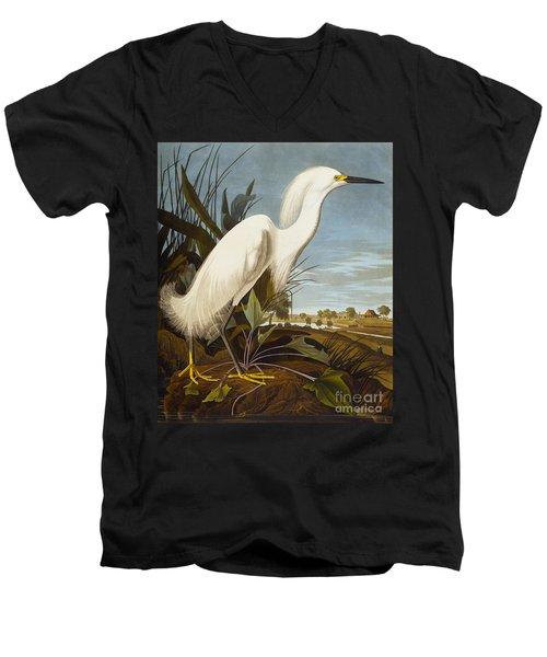 Snowy Heron Or White Egret Men's V-Neck T-Shirt by John James Audubon
