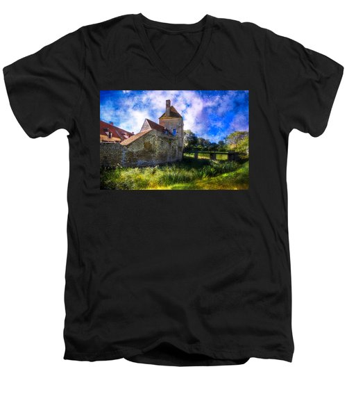 Spring Romance In The French Countryside Men's V-Neck T-Shirt by Debra and Dave Vanderlaan