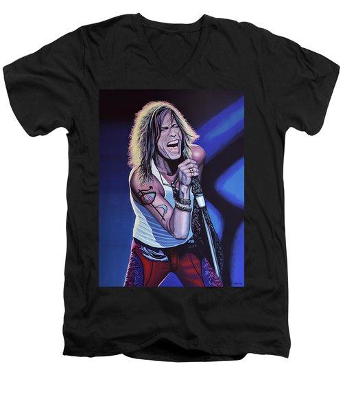Steven Tyler Of Aerosmith Men's V-Neck T-Shirt by Paul Meijering