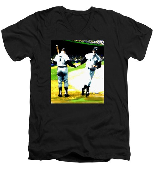 Summer Of The Gods  Iv 1961 Mickey Mantle Men's V-Neck T-Shirt by Iconic Images Art Gallery David Pucciarelli