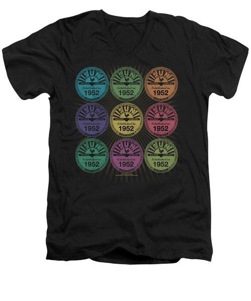 Sun - Rocking Color Block Men's V-Neck T-Shirt by Brand A