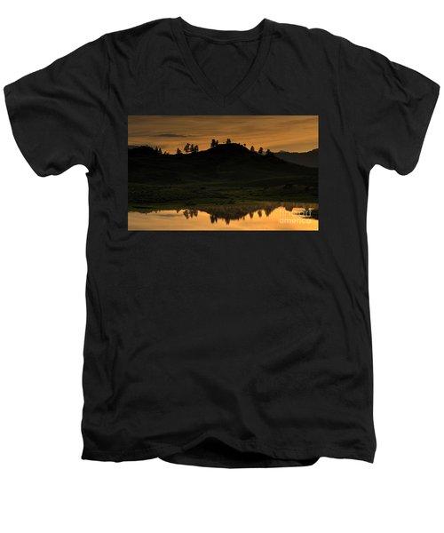 Men's V-Neck T-Shirt featuring the photograph Sunrise Behind A Yellowstone Ridge by Bill Gabbert