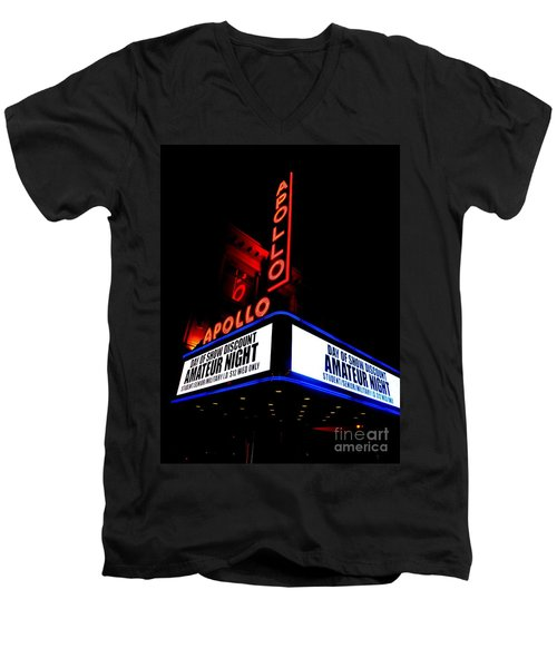 The Apollo Theater Men's V-Neck T-Shirt by Ed Weidman