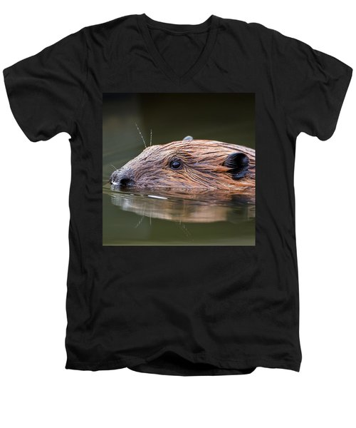 The Beaver Square Men's V-Neck T-Shirt by Bill Wakeley