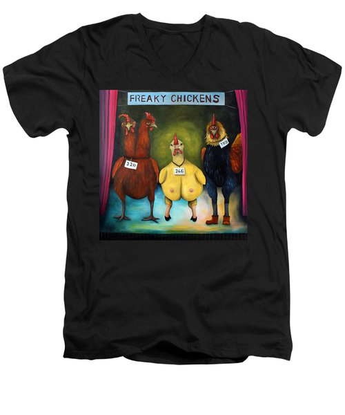 The Freaky Chicken Competition Men's V-Neck T-Shirt by Leah Saulnier The Painting Maniac