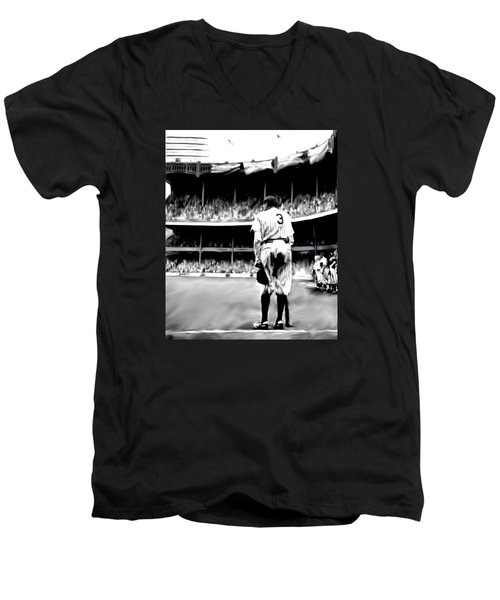 The Greatest Of All  Babe Ruth Men's V-Neck T-Shirt by Iconic Images Art Gallery David Pucciarelli