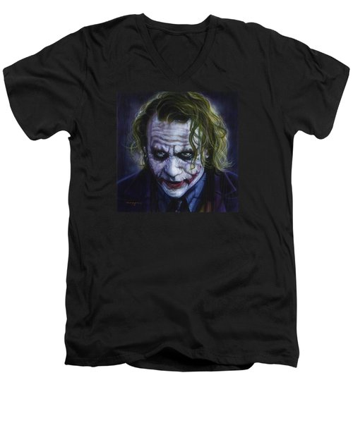 The Joker Men's V-Neck T-Shirt by Tim  Scoggins
