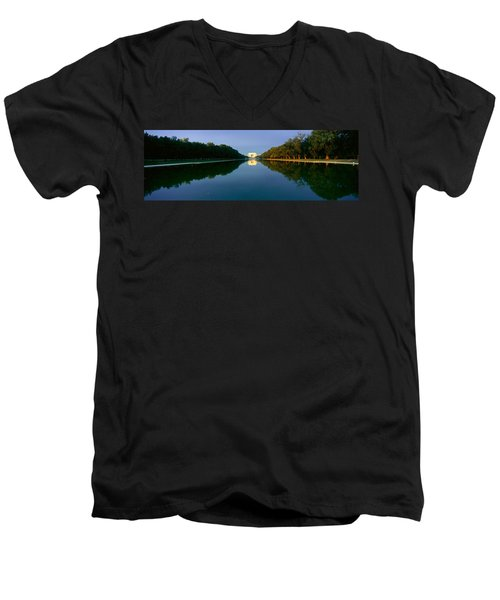 The Lincoln Memorial At Sunrise Men's V-Neck T-Shirt by Panoramic Images