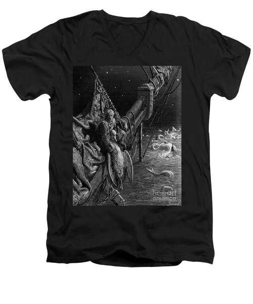 The Mariner Gazes On The Serpents In The Ocean Men's V-Neck T-Shirt by Gustave Dore