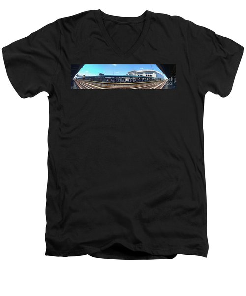The Old And New Yankee Stadiums Panorama Men's V-Neck T-Shirt by Nishanth Gopinathan