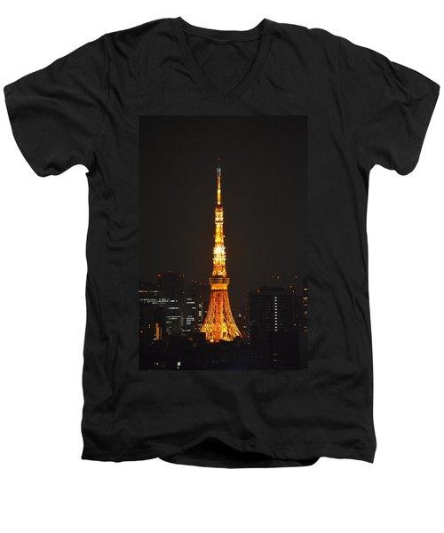 Tokyo Tower And Skyline At Night From Shinagawa Men's V-Neck T-Shirt by Jeff at JSJ Photography