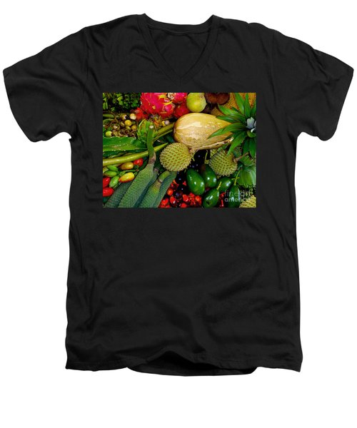 Tropical Fruits Men's V-Neck T-Shirt by Carey Chen