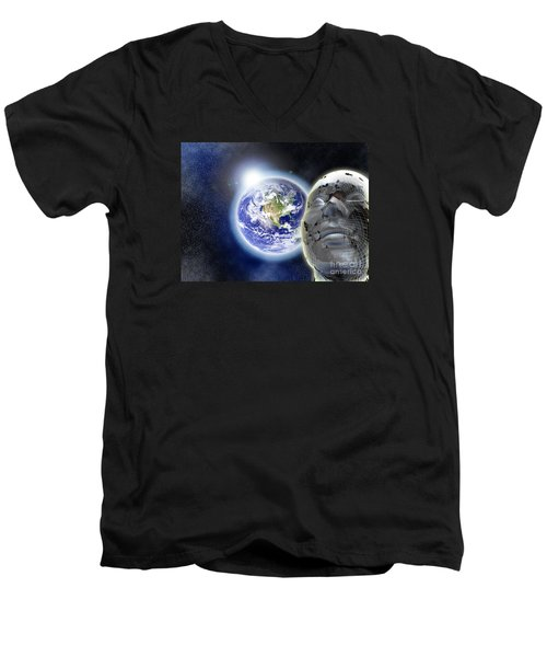 Alone In The Universe Men's V-Neck T-Shirt by Stefano Senise