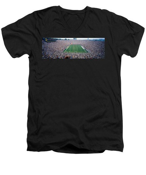 University Of Michigan Football Game Men's V-Neck T-Shirt by Panoramic Images