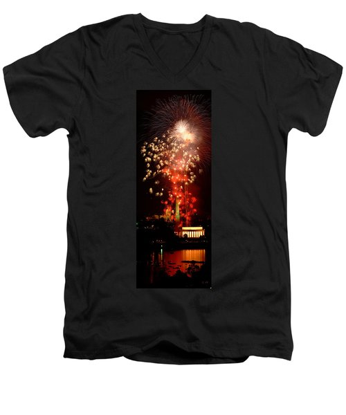 Usa, Washington Dc, Fireworks Men's V-Neck T-Shirt by Panoramic Images