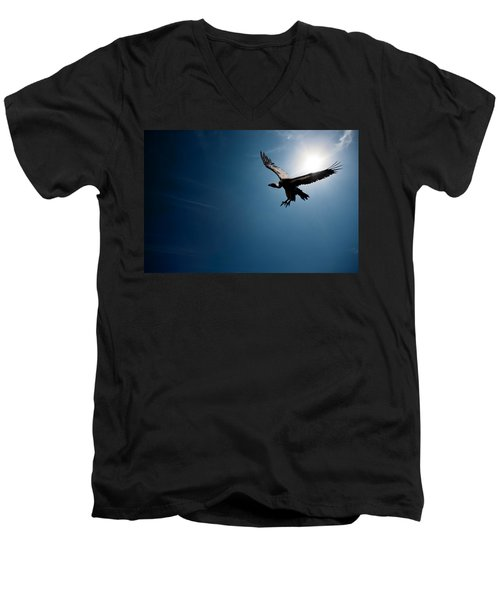 Vulture Flying In Front Of The Sun Men's V-Neck T-Shirt by Johan Swanepoel