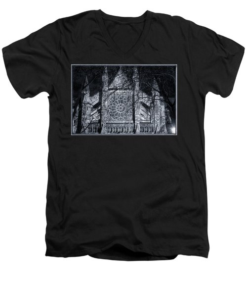 Westminster Abbey North Transept Men's V-Neck T-Shirt by Joan Carroll