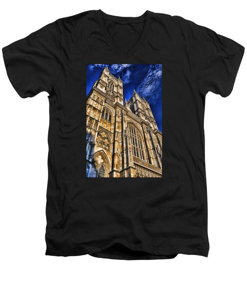 Westminster Abbey West Front Men's V-Neck T-Shirt by Stephen Stookey