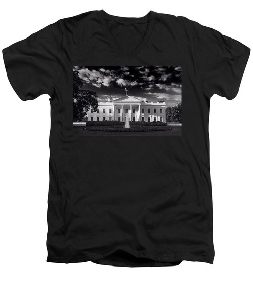 White House Sunrise B W Men's V-Neck T-Shirt by Steve Gadomski