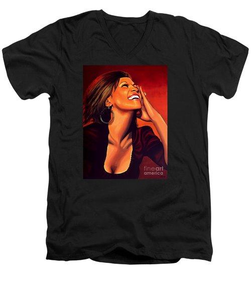Whitney Houston Men's V-Neck T-Shirt by Paul Meijering
