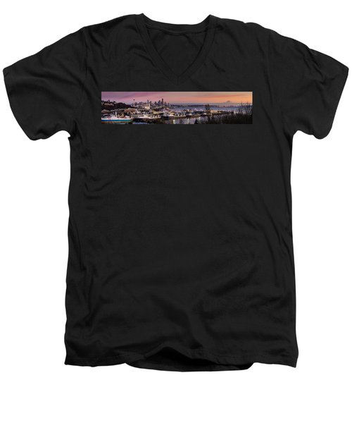 Wider Seattle Skyline And Rainier At Sunset From Magnolia Men's V-Neck T-Shirt by Mike Reid