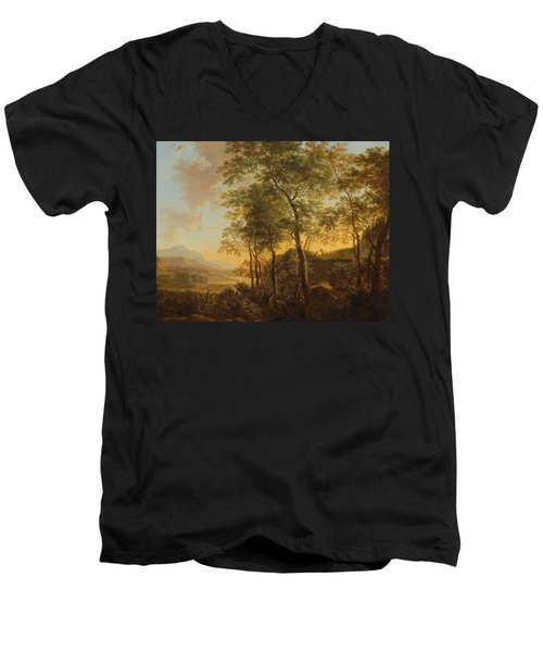 Wooded Hillside With A Vista Men's V-Neck T-Shirt by Jan Both
