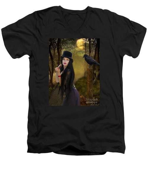 Words Of The Crow Men's V-Neck T-Shirt by Linda Lees