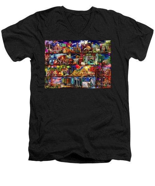 World Travel Book Shelf Men's V-Neck T-Shirt by Aimee Stewart