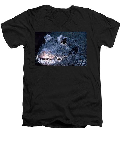 African Dwarf Crocodile Men's V-Neck T-Shirt by Dante Fenolio
