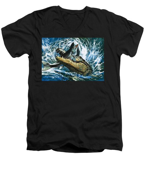 Alligator Eating Fish Men's V-Neck T-Shirt by English School