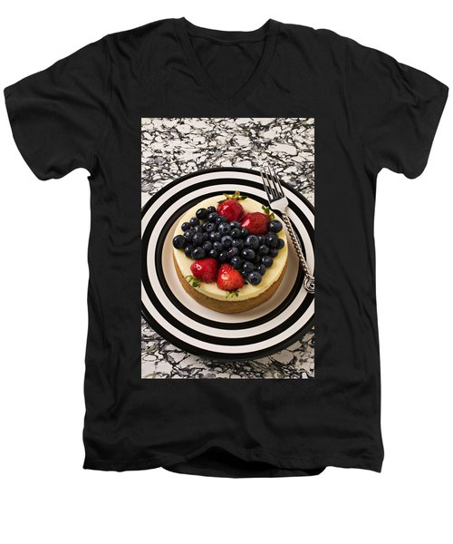 Cheese Cake On Black And White Plate Men's V-Neck T-Shirt by Garry Gay