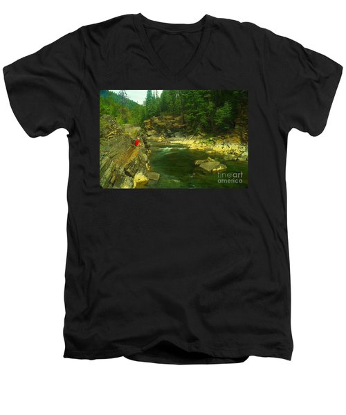 Cliff Over The Yak River Men's V-Neck T-Shirt by Jeff Swan