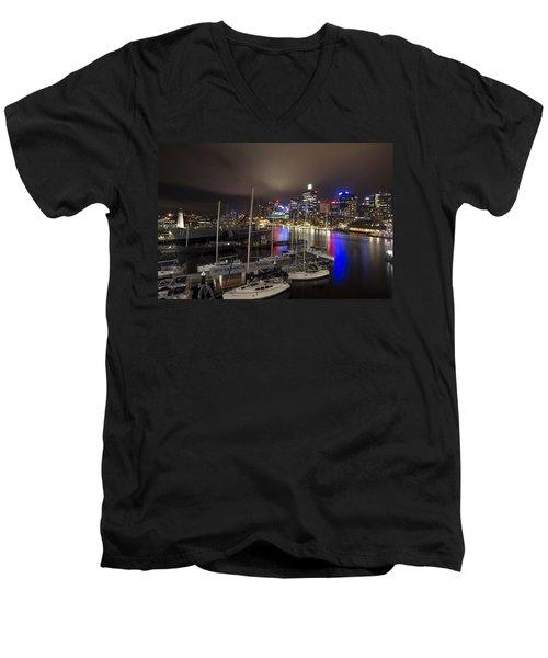 Darling Harbor Sydney Skyline 2 Men's V-Neck T-Shirt by Douglas Barnard