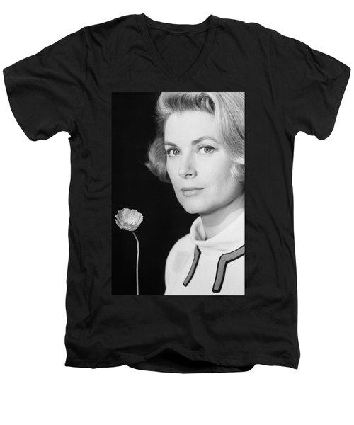 Grace Kelly (1928-1982) Men's V-Neck T-Shirt by Granger