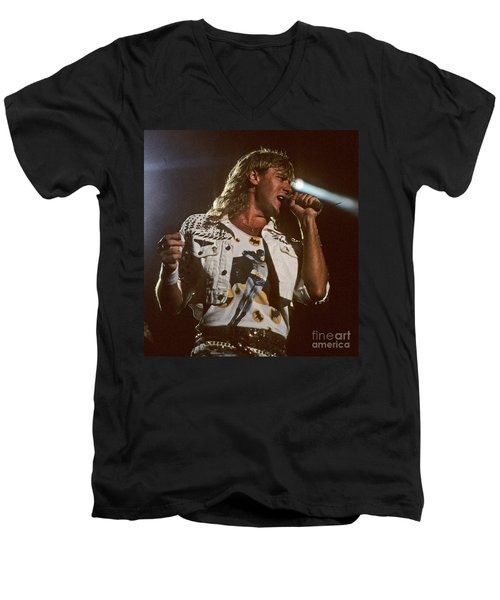 Joe Elliot Men's V-Neck T-Shirt by David Plastik