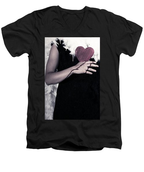 Lady With Blood And Heart Men's V-Neck T-Shirt by Joana Kruse