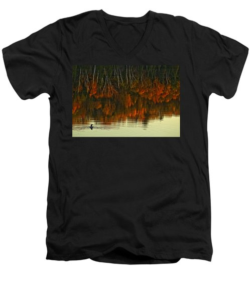 Loon In Opeongo Lake With Reflection Men's V-Neck T-Shirt by Robert Postma