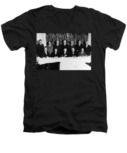 Sports Luncheon, 1930 Men's V-Neck T-Shirt by Granger