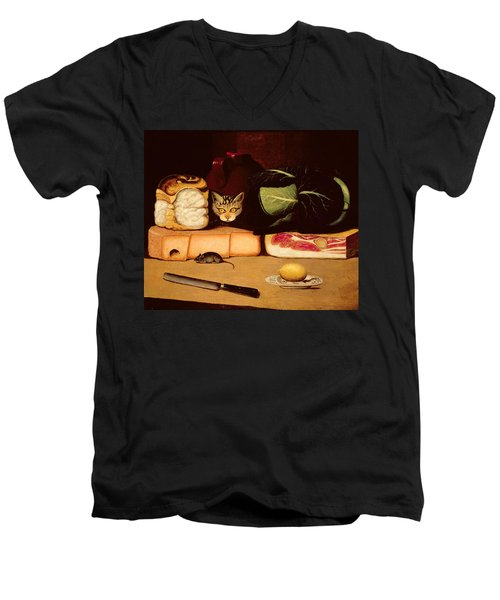Still Life With Cat And Mouse Men's V-Neck T-Shirt by Anonymous