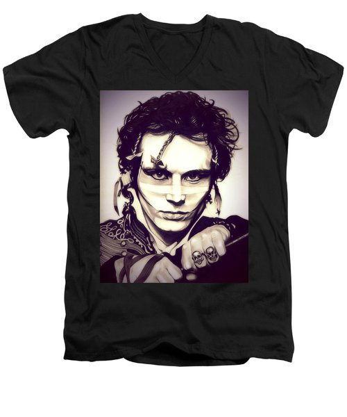 Adam Ant Men's V-Neck T-Shirt by Fred Larucci