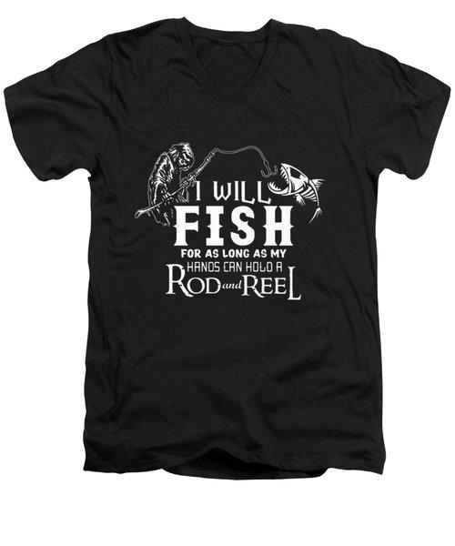 Fishing Men's V-Neck T-Shirt by Thucidol