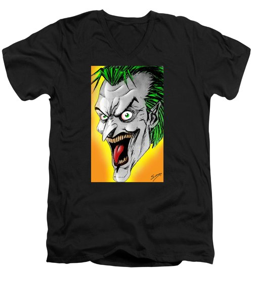 Joker Men's V-Neck T-Shirt by Salman Ravish