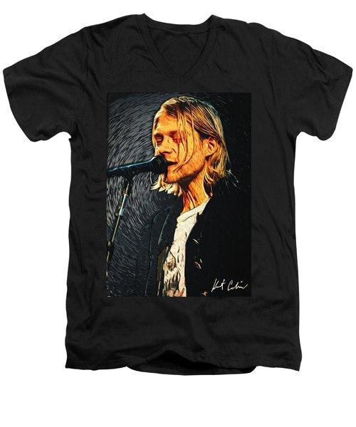 Kurt Cobain Men's V-Neck T-Shirt by Taylan Soyturk