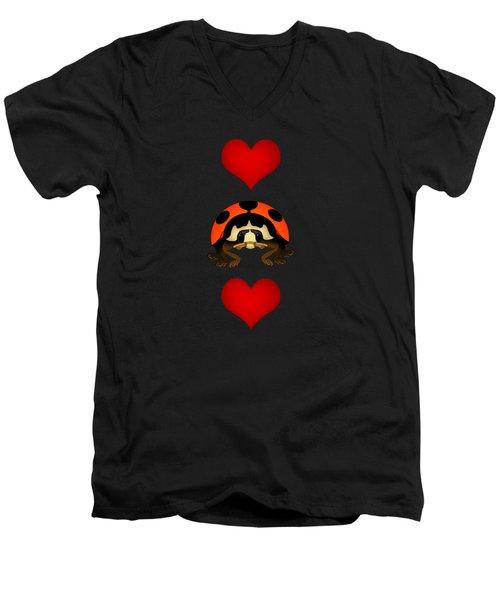 Love Bug Vertical Men's V-Neck T-Shirt by Sarah Greenwell